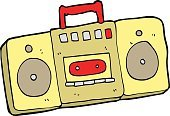 Cheerful,Doodle,Bizarre,Clip Art,Drawing - Activity,Ilustration,Audio Cassette,Playing,Cute,Radio