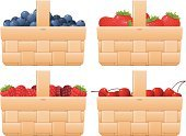 Picnic Basket,Picnic,Food,Ripe,Freshness,Organic,Slice,Blueberry,Four Objects,Supermarket,Raspberry,Nature,Serving Size,Fruit,Cherry,Blackberry,Groceries,Variation,Choice,Red,Strawberry,Basket,Vector
