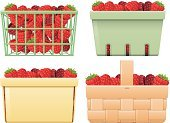 Picnic Basket,Supermarket,Groceries,Raspberry,Collection,Set,Picnic,Four Objects,Variation,Berry Fruit,Fruit,Freshness,Ripe,Basket,Organic,Nature,Red,Vector,Food