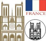 Notre Dame,French Culture,France,Cathedral,Symbol,Architecture,Construction Industry,Vector,Collection,Tourism,Paris - France,French Flag,Travel,Cultures,Old-fashioned,Set,Famous Place,Isolated,Design Element,Sign