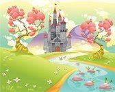 Medieval,Fantasy,Landscaped,Magic,Castle,Childhood,Cartoon,Cloud - Sky,Color Image,Colors,Non-Urban Scene,Scenics,Tower,Rural Scene,Mythology,River,Stream,Grass,Tree,Ilustration,Vector,Nature,Mountain,Plant,Humor,Meadow,Dreamlike
