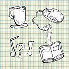 Mug,Music,Musical Note,Book,Symbol,Computer Mouse,Clip Art,Design,Internet,Arrow Symbol,Vector,White,Ilustration,Drawing - Art Product,Design Element,Modern,Business,Sketch,Technology,Sign,Digitally Generated Image