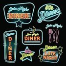 Diner,Sign,1950s Style,Retro Revival,Neon Light,Neon Color,Food,Truck Stop,Old-fashioned,Fork,Moon,Table Knife,Star Shape,Dining,Ilustration,Vector,Night,Blue,Set,Eat,Single Word,Text,Dark,Yellow,Glowing,Spoon,Drink