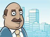 Completely Bald,Mustache,Balding,Cartoon,CEO,Men,White Collar Worker,Mature Adult,Financial Advisor,Urban Skyline,Vector,Smiling,City,Business Person,Urban Scene,Morning,Businessman,Leadership