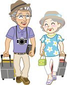 Retirement,Senior Couple,Senior Women,Walking,Vacations,Senior Adult,Heterosexual Couple,Tourist,Fun,People Traveling,Joy,travel case,Smiling,Bag,Gray Hair,Hat,People,Personal Accessory,Luggage,Suitcase,Briefcase,Case,White Background,Carrying,Journey,Passenger,Full Length,Couple,Isolated On White,Happiness,Lifestyles,Senior Men,Isolated,Camera - Photographic Equipment,Two People,Vector,Cheerful,Packing,Ilustration,Fashion,Holding,Summer,Tourism,Travel,Affectionate