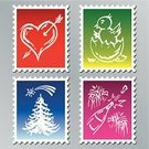 New Year's Eve,Postage Stamp,Christmas Tree,Champagne,Young Bird,Chicken - Bird,Valentine's Day - Holiday,Baby Chicken,Vector,New Year's Day,Symbol,Holiday,Heart Shape,Winter,Blue,Springtime,New Year,Green Color,Red,Celebration,Purple