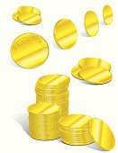 Coin,Gold Colored,Gold,Currency,Vector,Stack,Wealth,Ilustration,Solid,Metal,Business Concepts,Business