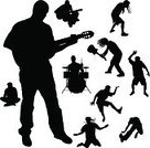 Design,Adult,Black Color,Men,Young Adult,Nightclub,Breakdancing,Disco Dancing,Music,Ilustration,Dancer,Male,Action,Jumping,Dancing,Back Lit,Vector,People,Silhouette,Guitar