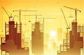 Skyscraper,Construction Industry,Construction Site,Urban Skyline,Sunrise - Dawn,Silhouette,Tower,Vector,Industry,Sunset,Engineering,Architecture,Cityscape,Backgrounds,Built Structure,Hoisting,Crane - Construction Machinery,Ilustration
