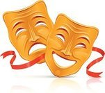 Theater Mask,Theatrical Performance,Comedy Mask,Mask,Humor,Tragedy Mask,Entertainment,Sadness,Symbol,Cheerful,Religious Icon,Happiness,Costume,Art,Laughing,Gold Colored,Vector,Cultures,Illusion,Painting,Ribbon,No People,Ilustration,Contrasts,Stage Costume,Grief,Red,Anger,Joy,Furious,Negative Emotion,Isolated On White,High Contrast,Arts And Entertainment,Isolated Objects,Theatre