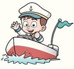 Nautical Vessel,Little Boys,Speedboat,River,Pond,Vector,Sea,Small,Hat,Canoeing,Child,Cutting,Ilustration
