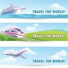 Railroad Track,Train,Transportation,Red,Sky,Banner,Three Objects,Blue,Internet,Frame,Journey,Art,Ship,Backgrounds,Set,Airplane,Creativity,Green Color,Design,Decoration,Cruise,Text,Ilustration,Vector,Adventure,Ornate,Sea,Vacations,Summer,Travel