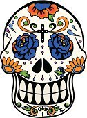 Human Skull,Sugar,Day Of The Dead,Mexican Culture,Mexico,Single Flower,Mexican Ethnicity,Bones - Television Show,Cross,Cross Shape,Cultures,Colors,Christianity,Altar,Halloween,Leaf,Human Teeth,Human Head,Religion