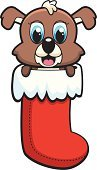 Puppy,Ilustration,Red,Christmas Stocking,Vector,Holiday,Dog,Animal,Young Animal,Cartoon,Cute,Christmas