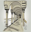 Vector,Travel,Ilustration,Architecture,Tourism,History,Arcade,Silver Colored,Corridor,Outdoors,Monument,Ancient,Entrance Hall,Stone Material,Gray,Art,Arch,Indigenous Culture,Cultures,Architectural Column,The Past