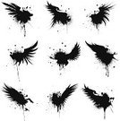 Artificial Wing,Wing,Feather,Spray,Dirty,Grunge,Vector,Paint,Ink,Black Color,Silhouette,Symbol,Computer Graphic,Drop,Design,Art,Ornate,Icon Set,Digitally Generated Image,Wet,Inkblot,Stained,Ilustration,Ideas,Concepts,Animals And Pets,Birds,Isolated-Background Objects,Isolated Objects