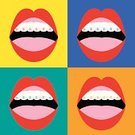 Braces,Brace,orthodontic,Women,corrective,Improvement,Repairing,Multi Colored,Enamel,Hygiene,Vector,Ilustration,Backgrounds,Human Lips,Computer Graphic