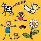 Child,Drawing - Activity,Cow,Religious Icon,Car,Sketch,Play,Flower,Domestic Cat,Childhood,Bird,Symbol,Little Boys,Artist,Sparse,Pencil,Playful,Vector,Simplicity,Ilustration,Collection,Color Image,Joy,Arts And Entertainment,Visual Art