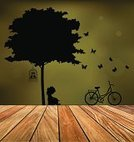 Vector,Hardwood Floor,Child,Tree,Reading,Book,Little Boys,Collection,Craft,Decoration,Label,Summer,Ornate,Abstract,Backgrounds,Leaf,Outline,paper cut,Shape,Nature,Love,Computer Graphic,Ilustration,Flooring