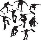 Skateboarding,Skateboard,Sport,Silhouette,Extreme Sports,Symbol,Vector,Teenager,Jumping,Design Element,Adolescence,Teenagers Only,Men,Youth Culture,creative element