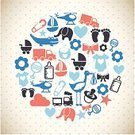 Newborn,Baby,Backgrounds,Footprint,Childhood,Nautical Vessel,Vector,Group of Objects,Child,Toy,Cute,Symbol,Decoration,Toy Rattle,Playful,Entertainment,Activity,Spotted,Crocodile,Stork,Baby Clothing,Label,Heart Shape,Ribbon,Elephant,Concepts,Small,Ilustration,Design,Multi Colored,Sign,Circle,Postcard,Single Object