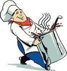 Stew,Cartoon,Humor,Fun,Cheerful,Smiling,Ladle,Cooking Pan,Cooking,Food And Drink,Chef,Food,Chili,Cooking Utensil