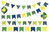 junina,Party - Social Event,Celebration,Brazil,Bunting,Brazilian,Flag,Balloon,Yellow,White,Vector,Green Color,Decoration,blurb,Isolated,June,Blue,Ornate,Heather