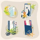 Airplane Ticket,Sunglasses,Slipper,Travel,Relaxation,Sea Stone,Single Flower,Set,Vacations,Event,Vector