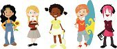 Child,Cartoon,Teenager,Little Girls,Sport,Student,Surfing,Characters,Cool,Tennis,School Children,Book,Reading,Adolescence,Hobbies,Multi-Ethnic Group,Education,Childhood,Vector,Ilustration,Music,Badminton,Group Of People,Schoolgirl,Musician,Science,Individuality,Surfboard,Asian Ethnicity,African Descent,Pink Hair,Cheerful,Sunflower,Latin American and Hispanic Ethnicity,Ethnic,Flower,Caucasian Ethnicity,Happiness,Nature,Smiling,Ethnicity,Electric Piano,Energy,Racket,Racket Sport,Multi Colored,Lifestyle,People,Teens,Babies And Children,Dyed Hair