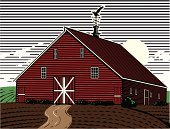 Barn,Woodcut,Farm,Weather Vane,Rustic,Field,Ilustration,Scratchboard,Vector,Warehouse,Agriculture,Crop,Rural Scene,Non-Urban Scene,Nature,Nature,Fall,Land,Storage Room,Pasture,Cultivated Land