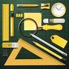 Lifestyles,Ruler,Paper,Pencil Sharpener,School Supplies,No People,Back to School,Adhesive Note,Crayon,Still Life,Single Object,Teaching,Homework,Document,Close-up,Creativity,Backgrounds,Equipment,Green Background,Pencil,Education,Yellow,Magnifying Glass,Eraser,Personal Accessory,Copy Space,Craft,Usb Flash,Ilustration,Variation,Elementary Age,Learning,Vector