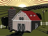 Barn,Farm,Woodcut,Midwest USA,Field,Crop,Vector,Silo,Ilustration,Non-Urban Scene,Windmill,Agriculture,Sunrise - Dawn,Rural Scene,Traditional Windmill,Pasture,Hay,Rustic,Scratchboard,Built Structure,Warehouse,Building Exterior,USA,Storage Room,Morning,Landscapes,Nature