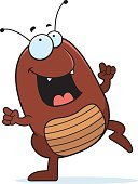 Flea,Tick,Dancing,Happiness,Cheerful,Insect,Smiling,Cartoon,Vector,Pest,Celebration,Ilustration,Cockroach