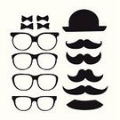 Computer Graphics,People,Elegance,Personal Accessory,Symbol,Hat,Lifestyles,Bow Tie,Eyeglasses,Mustache,Old-fashioned,Beauty,Computer Graphic,Adult,Illustration,Men,Vector,Fashion,Retro Styled,Beautiful People,Mister,Single Object,Icon Set,Hipster - Person