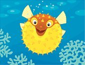 Swellfish,Toby,Tropical Fish,Blaasop,Fish,Cartoon,Puffer Fish,Balloonfish,coral fish,Coral,Ilustration,Drawing - Art Product,Vector,Swimming Animal,Sea,Tropical Climate,Tropical Sea,Underwater,cartoony
