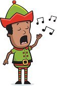 Ilustration,Music,Singing,Vector,Holiday,Elf,African Descent,Little Boys,Cartoon,Child,Christmas
