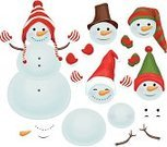 Snowman,Fun,Christmas,Carrot,Isolated,Holiday,Collection,Santa Hat,Vector,Clothing,Body,Cartoon,Dress,Dressing Up,Glove,Design,Toy,Costume,Symbol,White,Cute,Hat,Shape,Snowball