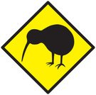 Kiwi Bird,New Zealand,Sign,Bird,Auckland,Wellington - New Zealand,Vector,Indigenous Culture,Warning Sign,Yellow,Black Color,Crossing Sign,Illustrations And Vector Art