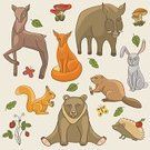 Bear,Squirrel,Nature,Wildlife,Hedgehog,Deer,Leaf,Ilustration,Backgrounds,Collection,Child,Vector,Wild Strawberry,Cute,Animal,Zoo,Forest,Hare