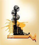 The Media,Communications Tower,Satellite Dish,Television Set,Antenna - Aerial,Telecommunications Equipment,City,Graffiti,Futuristic,Street,City Life,Grunge,Communication,Urban Scene,Dirty,Radio Wave,Telephone,Built Structure,Industry,Global Communications,Urban Skyline,Global Business,Steel,Cityscape,Highway,Connection,Frequency,Pole,Downtown District,Architecture And Buildings