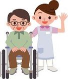 Senior Adult,Care,Characters,Male Nurse,Nurse,Hospital,Healthcare And Medicine,Occupation,Bonding,Cute,Support,Healthy Lifestyle,Youth Culture,Men,Ilustration,Vector,Smiling,Wheelchair,Women,Home Caregiver,Nursing Home