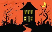 Spooky,House,Halloween,haunted house,Horror,Tree,Non-Urban Scene,Cemetery,Silhouette,Backgrounds,Autumn,Footpath,Bat - Animal,Shock,Month,Window,Grave,halloween party,Computer Graphic,Chimney,Moon,Dead Plant,Death,Door,Terrified,Black Color,Fear,Orange Color,Pedestrian Walkway,Holiday Backgrounds,Holidays And Celebrations,Costume Party,Halloween