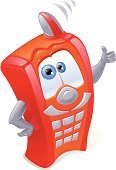 Telephone,Mobile Phone,Cartoon,Humor,Characters,Red,Cheerful,Vector,Ilustration,Mobility,Orange Color,Keypad,Luck,Comfortable,Isolated,No People,Antenna - Aerial,Communication,Posing,White Background,Isolated Objects,Business Concepts,Concepts And Ideas,Communication,Gray,Copy Space,Looking At Camera,Business
