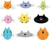 Domestic Cat,Whisker,Pets,Animal Head,Animal,Group Of Animals,Ilustration,Set,Feline,Icon Set,Humor,Fun,Vector,cat face,Multi Colored,Cute,Cheerful,Cartoon