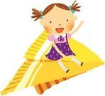 Airplane,Little Girls,Dot Pattern,Paper Airplane,Color Image,Child,Art Product