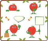 Cute,Set,Freshness,Pointing,Paper Bag,Sign,Food,Vector,Cartoon,Organic,Fruit,Healthy Eating,Apple - Fruit