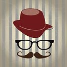 Hat,Fashion,Postcard,Elegance,Ilustration,Personal Accessory,Computer Graphic,Lifestyles,Retro Revival,Graph,Symbol,Beautiful,Hipster,Mustache,Eyeglasses,Vector
