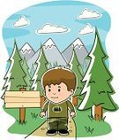 Hiking,Cartoon,Outdoors,Dirt Road,Sign,Vector,Woodland,Footpath,Tree,Mountain,Camping,Clip Art,Forest,Mountain Range,Nature