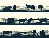 Wild West,Fence,Silhouette,Cow,Cattle,Ox,Farm,Vector,Pasture,Panoramic,Ranch,Animal,Scenics,Herd,Ilustration,Set,Plain,Bookmark,Banner,Abstract,Backgrounds,Horizontal,Grass,Placard,Livestock,Hedge,Meadow,Bull - Animal,Grazing,Nature,Label,Field,Green Color,Palisade