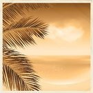 Palm Tree,Sea,Sepia Toned,Tropical Climate,Photograph,Summer,Old-fashioned,Old,Vector,Beach,Season,Ilustration,Eps10,Vacations,Travel Destinations,Crumpled,Crease